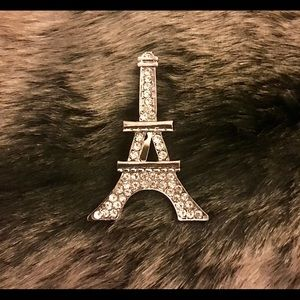 Silver Rhinestone Eiffel Tower Brooch Pin NWOT